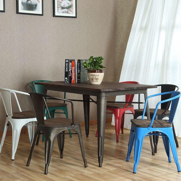 Bàn cafe tolix 4 chân, bàn ăn tolix ở TPHCM - Mã 2101R - Lavaco