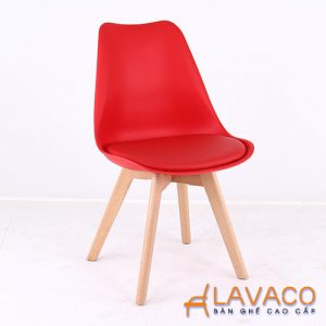 Ghế cafe, ghế ăn nhựa lót nệm chân gỗ - Mã: 1208R