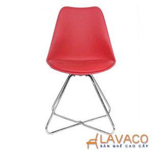 Ghế ăn ghế cafe nhựa chân inox lót nệm - Mã: 1211R