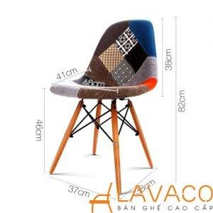 ghế ăn, ghế cafe eames dsr chân gỗ lưng mệm bọc vải bố 1214