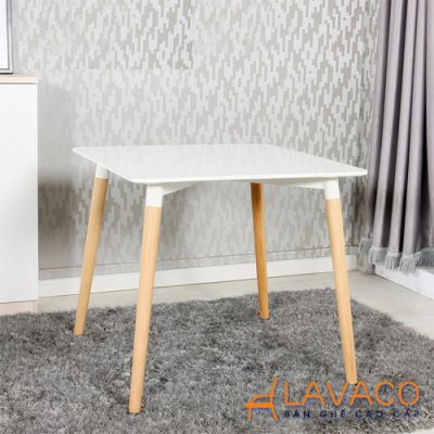 Bộ bàn ăn vuông 4 ghế chân gỗ hiện đại Lavaco T108S-4×295 (Ảnh 3)