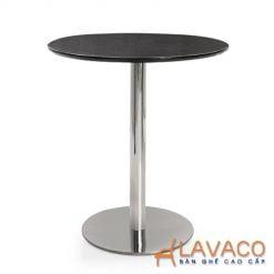 bàn cafe tròn thân trụ inox