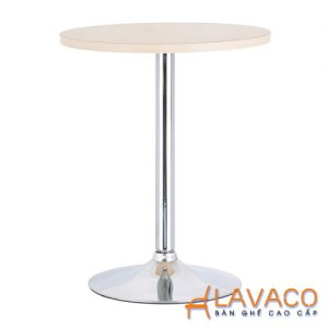 Bàn ăn, bàn cafe tròn mặt gỗ, chân trụ inox - Mã: 1114Y