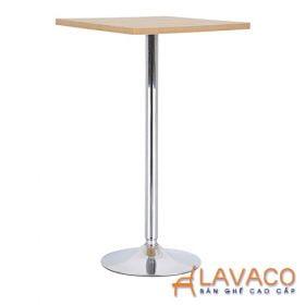 Bàn ăn, bàn cafe vuông mặt gỗ, chân trụ inox - Mã: 1114Y