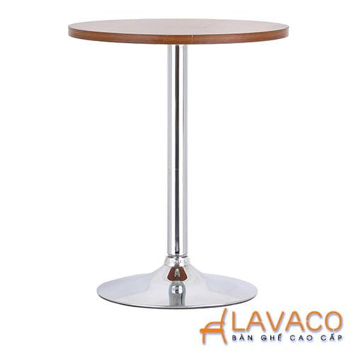 Bàn ăn, bàn cafe tròn mặt gỗ, chân trụ inox - Mã: 1115O