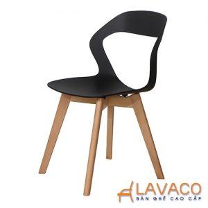 Ghế ăn ghế cafe nhựa chân gỗ cách điệu - Mã: 1215B