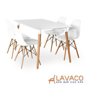 Bộ bàn cafe, bộ bàn ăn 4 ghế eames nhựa chân gỗ TPHCM - Lavaco