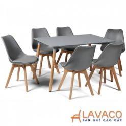 Bộ bàn ăn, cafe cho 6 người gồm bàn T108 0.8×1.2×0.75m và 6 ghế eames nhựa lót nệm chân gỗ 205