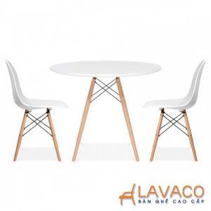Bộ bàn ăn, cafe hiện đại 2 ghế ngồi gồm bàn tròn T05 và ghế cafe nhựa chân gỗ 207