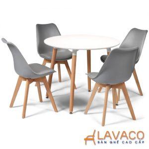 Bộ bàn ăn, cafe hiện đại 4 ghế ngồi gồm bàn tròn T04 và ghế eames lót nệm 205