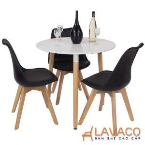 Bộ bàn ăn, cafe hiện đại cho 3 người gồm bàn tròn T105 và ghế cafe bọc nệm chân gỗ 205
