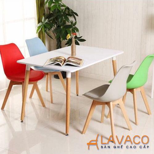 Bộ bàn ăn, bộ bàn cafe 4 ghế eames lót nệm hiện đại giá rẻ - Lavaco