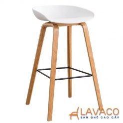 Ghế quầy bar hay stool lưng nhựa chân gỗ nhập khẩu cao cấp