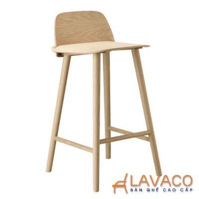Ghế quầy bar chân nhựa mặt gỗ có lưng Mã 429 - Lavaco
