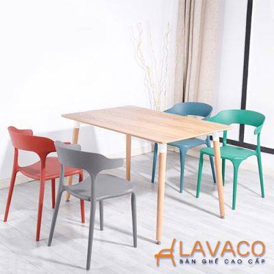 Bộ bàn ăn hiện đại ghế nhựa xếp chồng