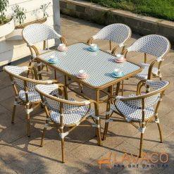 Bộ bàn ngoài trời chữ nhật 6 ghế