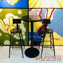 Bộ bàn ghế bar chân sắt mặt gỗ ngoài trời