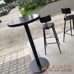bàn bar chân sắt sơn tĩnh điện mặt gỗ sang trọng