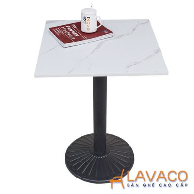 Bàn cafe mặt đá vuông chân đen Lavaco T152w (Ảnh 1)