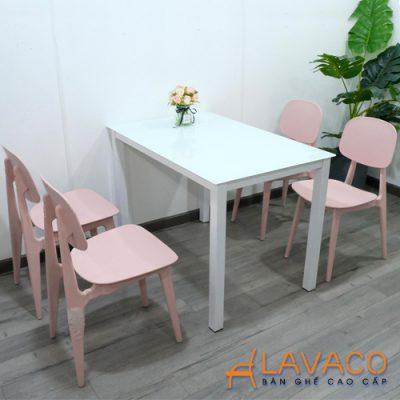 Bộ bàn ăn mặt kính 4 ghế hiện đại Lavaco T154-4×257 (Ảnh 2)