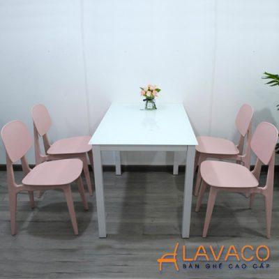 Bộ bàn ăn mặt kính 4 ghế hiện đại Lavaco T154-4×257 (Ảnh 1)