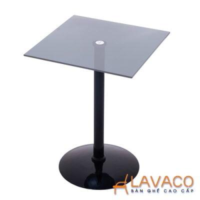 Bàn cafe vuông kính cường lực chân thép Lavaco T158V (Ảnh 2)