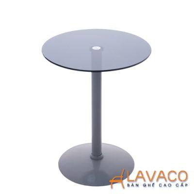Bàn cafe tròn kính cường lực chân thép Lavaco T158 (Ảnh 1)