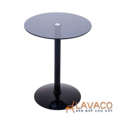 Bàn cafe tròn kính cường lực chân thép Lavaco T158 (Ảnh 2)