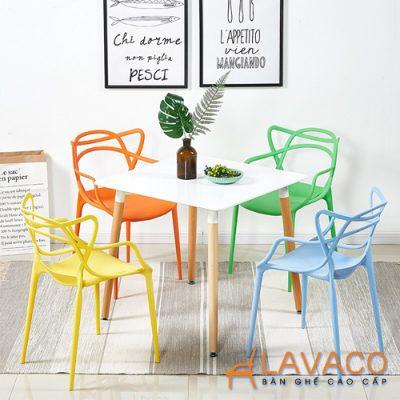Bộ bàn ăn vuông 4 ghế chân gỗ hiện đại Lavaco T108S-4×295 (Ảnh 1)