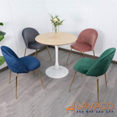 Bộ bàn tròn 4 ghế bọc nệm nhung sang trọng cho Showroom