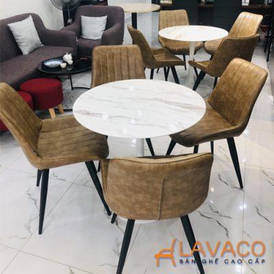 Bàn cafe tròn tulip mặt đá chân thép Lavaco T117A (Ảnh 4)