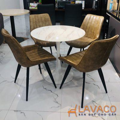 Bàn cafe tròn tulip mặt đá chân thép Lavaco T117A (Ảnh 3)