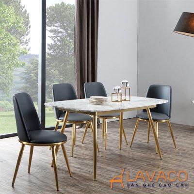 Bộ bàn ăn mặt đá chân thép mạ vàng 4 ghế bọc nệm da