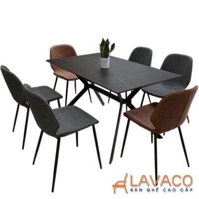 Bộ bàn ăn mặt đá 6 ghế sang trọng