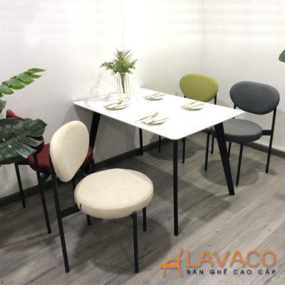 Bộ bàn ăn mặt đá ghế nệm vải bố hiện đại