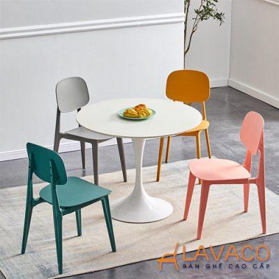 Bộ bàn tròn 4 ghế nhựa PP đúc