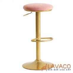 Ghế quầy bar mini nệm bọc nhung chân sơn vàng