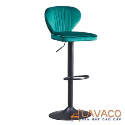 Ghế bar cao lưng nhung chân trụ nâng hạ