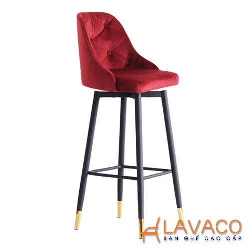 Ghế bar chân sắt bọc ống inox mạ vàng lưng nhung