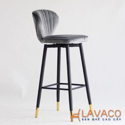 Ghế bar xoay lưng bọc nhung chân sắt bọc ống mạ vàng