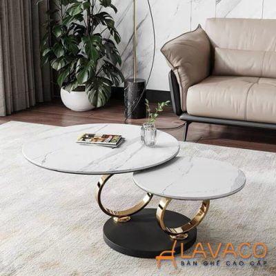 Bàn sofa mặt đá chân inox xoay sang trọng
