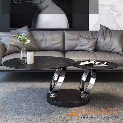 Bàn sofa xoay mặt đá hiện đại