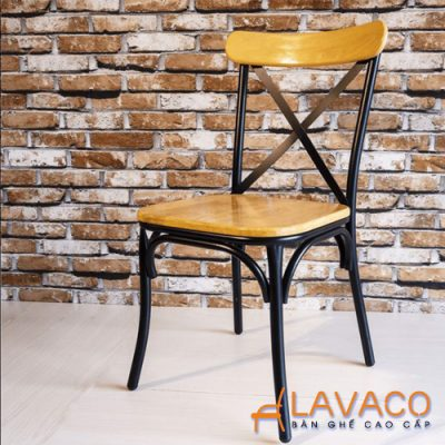 Ghế gỗ chân sắt cho quán cafe