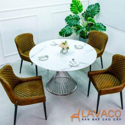 Bộ bàn ăn 4 ghế mặt đá tròn hiện đại