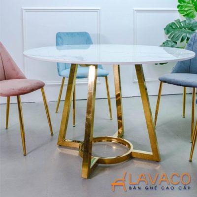 Bộ bàn ăn mặt đá tròn chân mạ vàng đẳng cấp