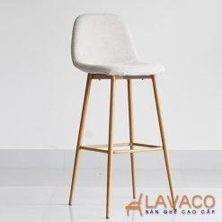 Ghế quầy bar bọc vải chân sắt sơn tĩnh điện