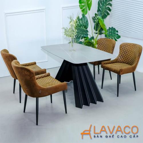 Bộ bàn ăn mặt đá chân thép 4 ghế bọc da cao cấp