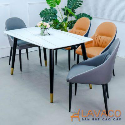 bộ bàn ăn mặt đá 4 ghế bọc da cao cấp
