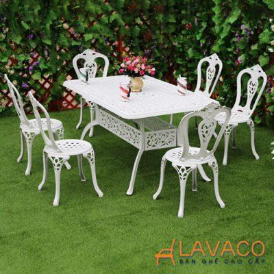 Bộ bàn sân vườn nhôm đúc nhập khẩu chữ nhật