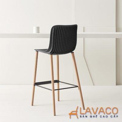 Ghế quầy bar chân gỗ mặt nhựa cao cấp